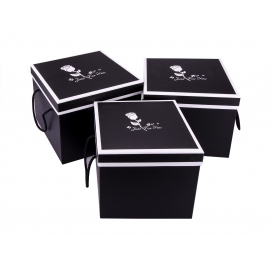 "Set of boxes ""Just For You"" cube 3 pcs (black)"