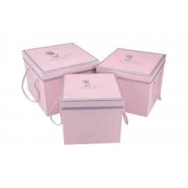 """Набор коробок куб """"Just For You"""" 3 шт (розовые)"""