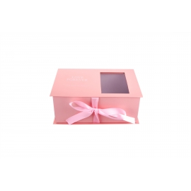 Box of flowers and macaroon peach