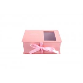 Коробка для квітів та макарунів персикова