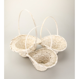 White round baskets of 3 pcs.