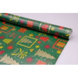 """Coated paper 0.7 x 10 yd."""" New year attributes on green"""""""
