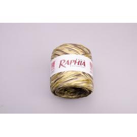 Рафия Италия 200m Золото + шоколад + бежевый