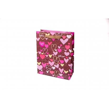 """Пакет картонный 19.6 х 24.5 х 8.8 см.""""With Love"""""""
