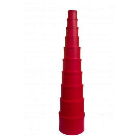 Набор круглых коробок с 10 шт красные
