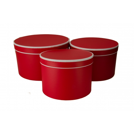 Набор низких тубусов с 3 шт красные с белой каймой