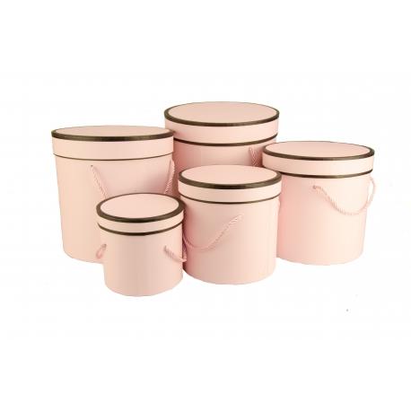 Набор тубусов для цветов из 5 шт. Розовые с черной каймой