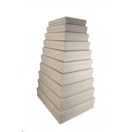 Набір прямокутних низьких коробок з 10 шт Сірі 607-1904
