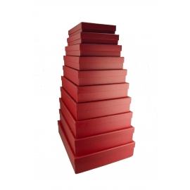 Set of rectangular low boxes of 10 pieces Red 607-1290