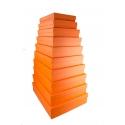 Набір прямокутних низьких коробок з 10 шт Помаранчеві 607-434