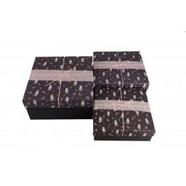 Набір коробок для подарунків з 3 шт Котики на чорному