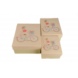 Set of boxes for gifts with 3 pieces Bicycle