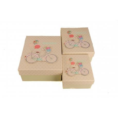 Набір коробок для подарунків з 3 шт Велосипед