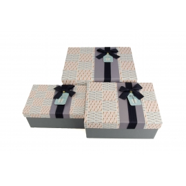 Set of cardboard rectangular gift boxes with 3 pieces Gray with textile bow