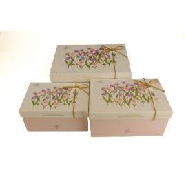 Набір коробок для подарунків з 3 шт G01-59 Весняні квіти