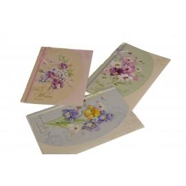 Вітальна листівка з конвертом 12*18см WISH-1515 з атласною стрічкою