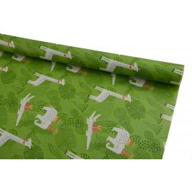 Бумага 0.7м * 10ярдив Жираф на зеленом