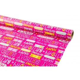 "Paper coated 0.7m * 10yards ""HAPPY BIRTHDAY on pink"""