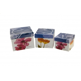 Set of cubic boxes 3 pcs Red Flower W7811