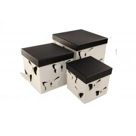 Набір кубічних коробок 3 шт Білий Метелик W7813