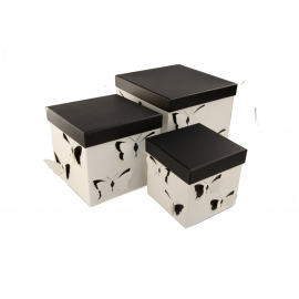 Set of cubic boxes of 3 pieces White Butterflies W7813