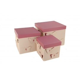 Набір кубічних коробок 3 шт Бежевий Метелик W7814