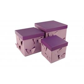 Набір кубічних коробок 3 шт Рожевий Метелик W7816