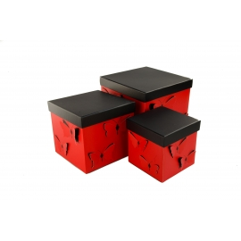 Set of cubic boxes 3 pcs Red Butterfly W7815