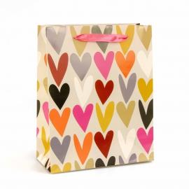Пакет бумажный Цветные Сердца EC-M-13110