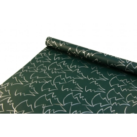 """New Year's paper. 0.7 m * 10 yards """"Silver Christmas Trees"""" on the Green"""