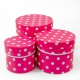 Set of round boxes of 3 pieces 3396-947 with raspberry peas
