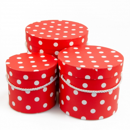 Set of round boxes 3 pcs 3396-948 with red peas