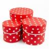 Набір круглих коробок 3 шт 3396-948 з горохом червоні