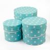 Набір круглих коробок 3 шт 3396-983 з горохом блакитні