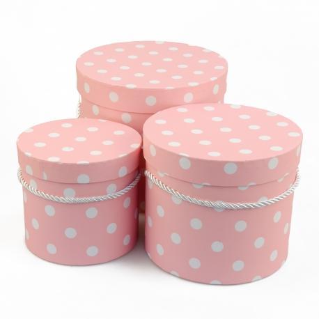 Набор круглых коробок 3 шт 3396-984 с горохом розовые
