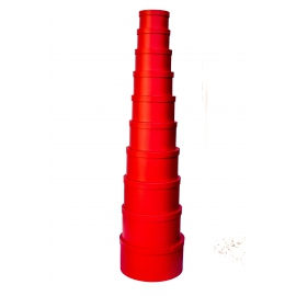 Set of round boxes 813-074 10 pcs Red