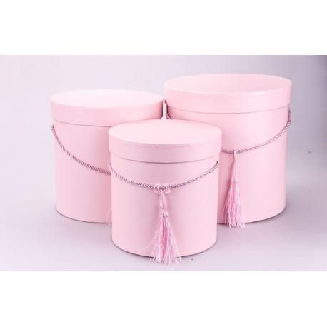 Набор круглых коробок для цветов 3 шт 6806 Перламутр Розовые