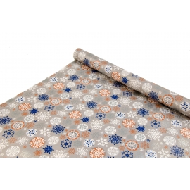 """New Year's paper. 0.7 m * 10 yards """"Colorful snowflakes"""" on Gray"""
