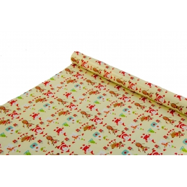 """New Year's paper. 0.7 * 10yard """"Santa with Reindeer"""" on White"""