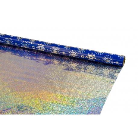 Пленка двусторонняя металлизированная 0,7 * 10м Серебряные звезды на синем