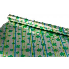 Бумага тыс. И металл. 0,7 * 10м Листья Клевера - голограмма
