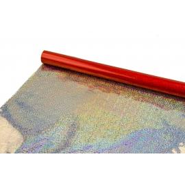"""Плівка металізована 0,7 м x 9 м """"Голограмні сніжинки"""" на червоному"""