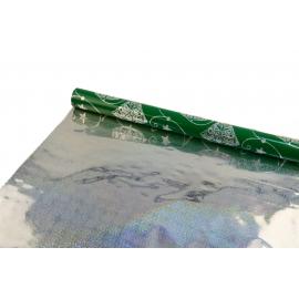 """Плівка металізована 0,7 м x 9 м """"Голограмні ялинки"""" на зеленому"""