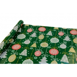 """New Year's paper 0.7 * 10yard """"Christmas toys"""" on green"""