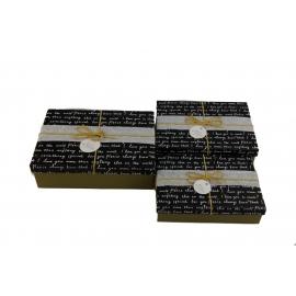 Набор коробок для подарков с 3 шт 08195-65 Письмо на черном
