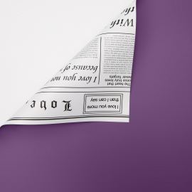 Double-sided film in a roll of 0.6 x 8 m P.OY-002-232 Purple + White newspaper