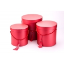 Set of round boxes for flowers 3 pcs 6807 Mother of Pearl Red