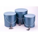 Набір круглих коробок для для квітів 3 шт 6809 Перламутр Сині