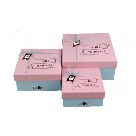 """Набір коробок для подарунків з 3 шт JKZ-34 """" Love yourself"""" на рожевому"""