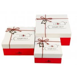 """Набір коробок для подарунків з 3 шт JKZ-36 """"Love yourself"""""""